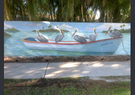 This outdoor mural was painted on a privacy wall outside of homeowner's driveway (5 ft x 25 ft).